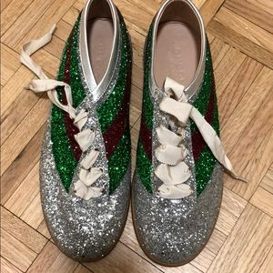 Gucci glitter bee crystal sneakers